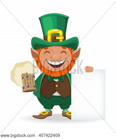 Stock Vector Leprechaun. Happy St Patrick's Day. Cheerful Leprechaun Cartoon Character Holding Beer