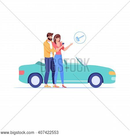 Vector Cartoon Flat Family Characters Buy Or Rent Car, Happy Smiling People Buying, Renting Automobi