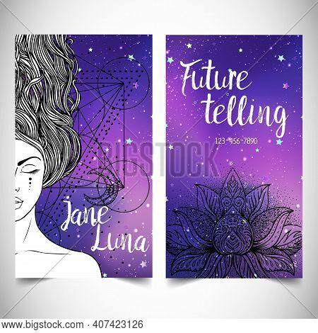 Fortune Teller, Spiritual Coach, Mystic Healer Card Design Template. Vector Illustration.