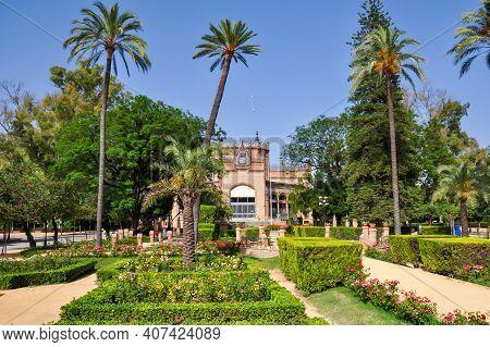 Pavilion In Maria Luisa Park In Seville, Spain