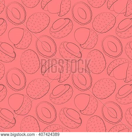 Seamless Vector Pattern With Outline Exotic Pink Lychees