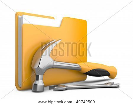Yellow Folder With Wrench And Hammer