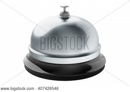 Silver Reception Bell, 3d Rendering Isolated On White Background