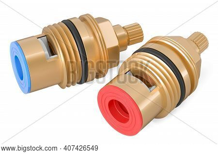 Replacement Tap Cartridges, Tap Glands For Hot And Cold Water. 3d Rendering Isolated On White Backgr