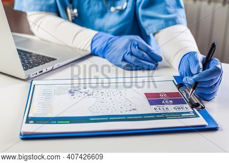 Doctor Wearing Protective Gloves Working On Laptop Computer,analyzing Coronavirus Info Data,covid-19