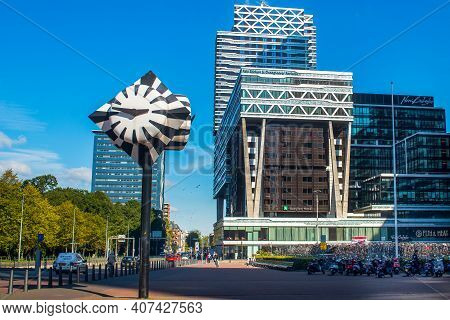 Hague. Netherlands. 30 September 2015 : Famous Clock On The Babylon Complex And Central Railway Stat