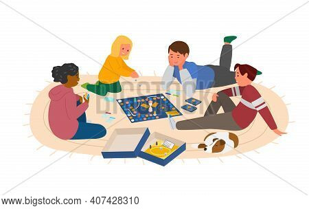 Kids Playing Board Game At The Floor Vector Illustration. Isolated On White.