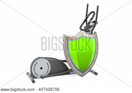 Elliptical Trainer With Shield, 3d Rendering Isolated On White Background