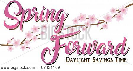 Spring Forward Daylight Savings Time Banner With Cherry Blossoms