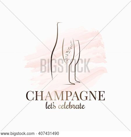 Champagne Bottle And Glass Watercolor On White
