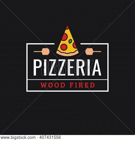 Pizzeria Logo. Linear Logo Of Pizza Slice On Dark