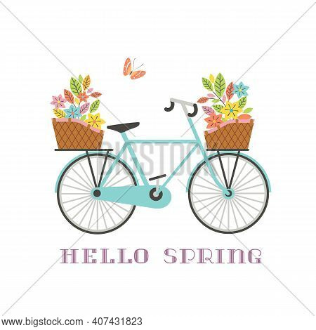 Old Retro Blue Bicycle With Flowers Bouquet In Baskets Vector Icon. Vintage Bike Cartoon Isolated On