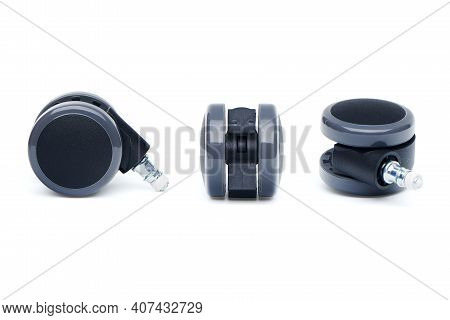 Furniture Castor Wheel For Office Chair In Multiple Foreshortening Isolated On White Background.