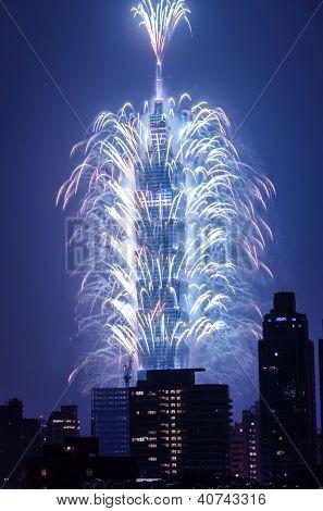 TAIPEI, TAIWAN - JAN 1 2013. 2012 countdown firework at famous skyscraper, Taipei, Taiwan, Asia. Jan 1 2013