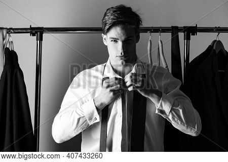 Man Dressing. Sexy Gay With Formal Outfit Tie And Suit Wearing Shirt And Tie. Young Businessman In W