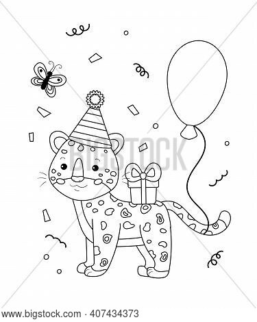 Cartoon Leopard With Gift And Balloon. Happy Birthday Theme Coloring Page For Book. Outline Vector I