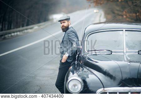 Nostalgia And Retro Car At Bearded Man. Vintage Guy.