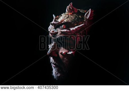 Devil Demon, Sorcerer Makeup. Horror And Fantasy Concept. Man With Thorns Or Warts. Demon On Black B