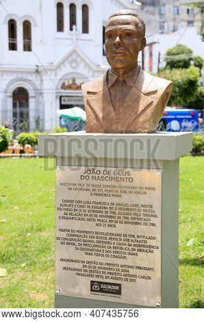 Salvador, Bahia, Brazil - February 8, 2021: Joao De Deus Do Nascimento, Martyred By The Alfaiates Re