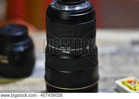Tirana, Albania. December 2020: Nikon Various Lens Exposed On A Table.