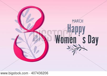 March 8, Women's Day. Vector, 3d Greeting Card Made Of Paper. Pink Background. Madness, Happy Women.