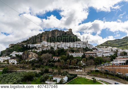 Zahara De La Sierra, Spain - 1 Februarv, 2021: View Of The Whitwashed Andalusian Village Of Zahara D