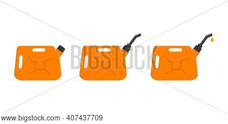 Gasoline Cans With Closing Cap, Spout And Leaking Petrol Drop. Set Of Gas Cans, Fuel Containers Isol