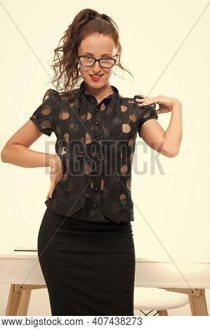 Smart In New Sexy. Ambitious Female In Business Office. Emancipated Woman. Girl Formal Clothes Eyegl