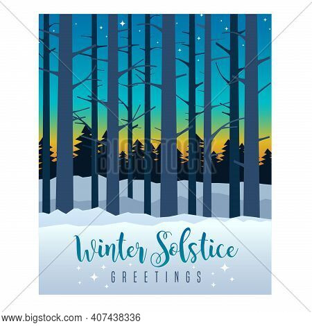 Winter Solstice Graphic Design. Colorful Evening Sky With Sunset And Stars Behind Silhouette Of Tall