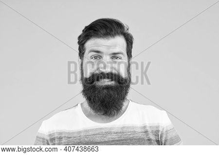 Smiling Face. Man Bearded Stylish Beard Yellow Background. Barber Tips. Beard And Mustache. Hipster