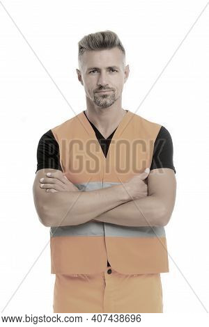 High Visibility Reflective Safety Vest. Safety Is Main Point. Man Worker Protective Uniform White Ba