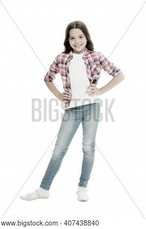 Loving Her New Style. Happy Child In Casual Style Isolated On White. Fashion And Style. Fashion Look