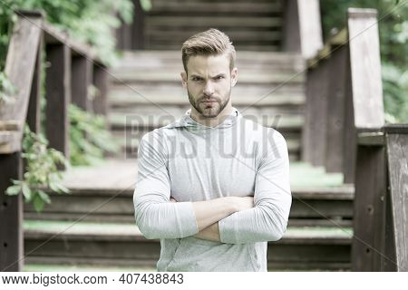 Overcome Any Obstacles. Sportsman Lifestyle. Handsome Athlete Stairs Background. Male Beauty. Sport