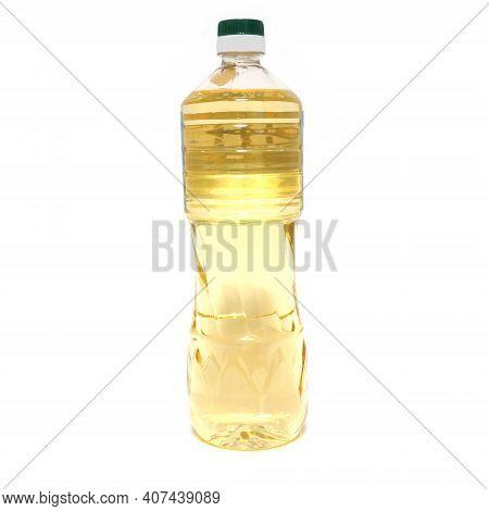 One Litre Bottle Of Vegetable Oil Extra Virgin Isolated On White Background
