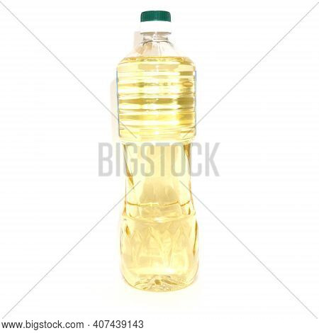 One Litre Bottle Of Olive Oil Extra Virgin Isolated On White Background