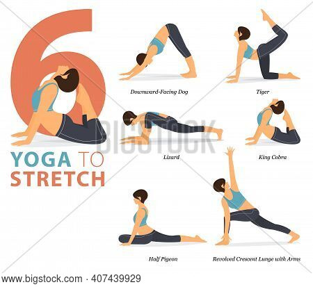 Infographic 6 Yoga Poses For Workout In Concept Of Body Stretching In Flat Design. Women Exercising