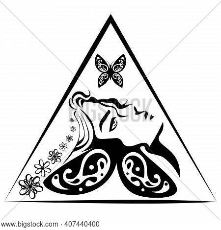 Abstract Stencil Illustration Of Pensive Girl And Butterfly In The Triangle