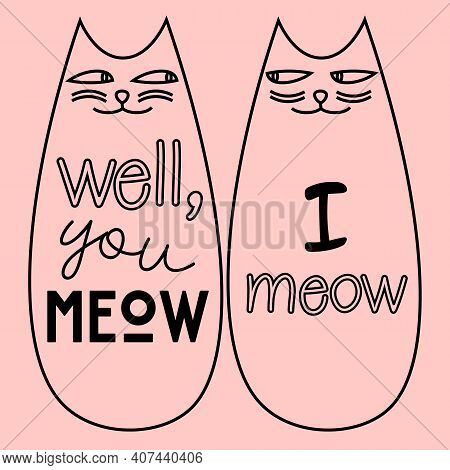 Cute Couple Of Two Outline Smirking Cats On Pink Background
