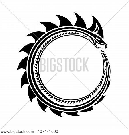 Isolated Black Ouroboros Snake In Tribal Celtic Or Viking Style
