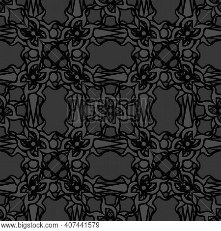 Dark Monochrome Grey Seamless Pattern With Fantasy Gothic Ethnic Motif
