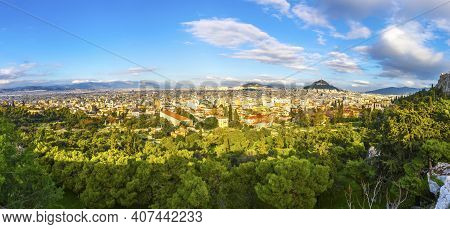 Panoramic Aerial View Of City Of Athens, Attica, Greece. Skyline View From Areopagus Hill. Lycabettu