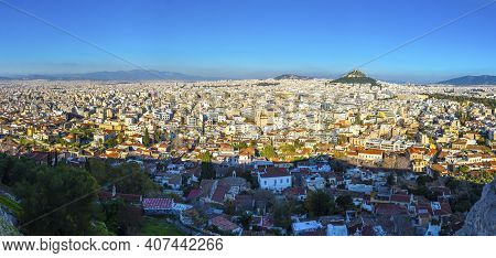 Panoramic Aerial View Of City Of Athens, Attica, Greece. View From Acropolis Of Athens. Skyline With