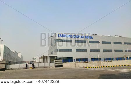 Noida, India - 29 January 2021 , Samsung Display Noida Plant Front View Started In Uttar Pradesh For
