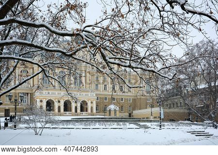 Winter Day In Odessa. Snowy, Cold Weather. Odessa National Academic Theater Of Opera And Ballet, Arc