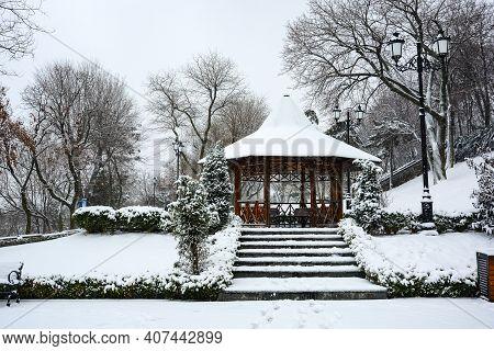 Istanbul Park In Odessa, Ukraine. Winter Day In Odessa. Snowy, Cold Weather. Winter Landscape, Snowy