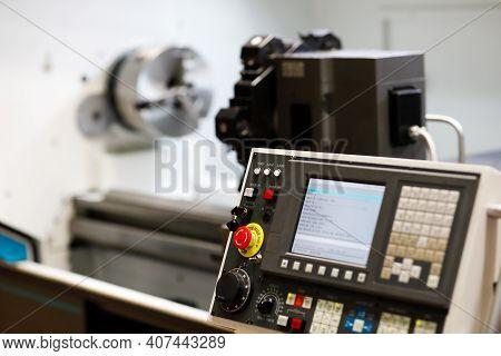 Control Panel Of Cnc Turret Lathe Machine. Selective Focus.