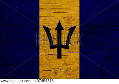 Flag Of Barbados. Wooden Texture Of The Flag Of Barbados.