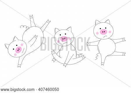 Animals Set. The Piglet Does Exercises, Goes In For Sports. Coloring Book For Kids. Colouring Pictur