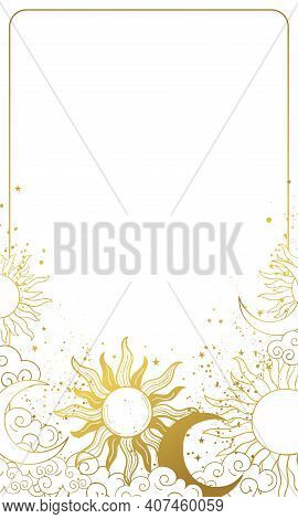 Heavenly Modern Card With Golden Sun And Moon, Vintage Background For Astrology And Horoscope, Natal