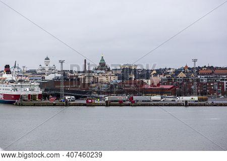 Helsinki, Finland - January 17, 2020: View Of The Pier In The Port Of Helsinki